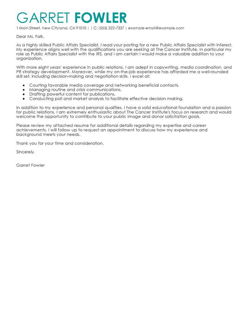 sample cover letter public relations - Serpto ...