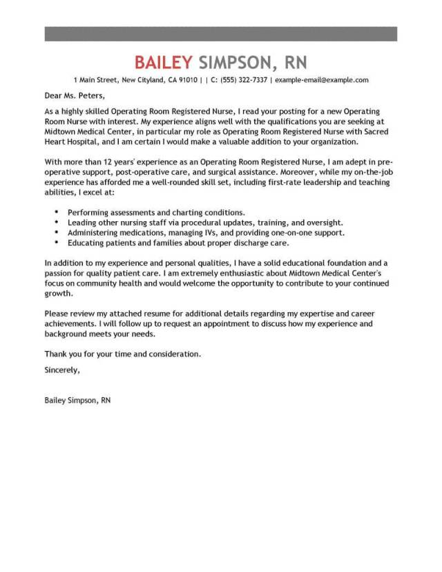 Best Operating Room Registered Nurse Cover Letter Examples Livecareer Charge Resume