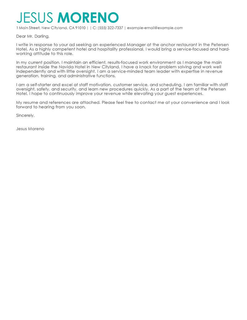 Best Hotel Amp Hospitality Cover Letter Examples LiveCareer