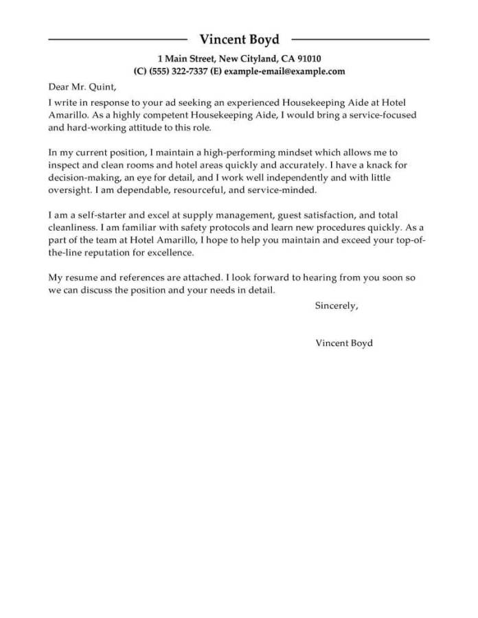 Professional Housekeeping Aide Cover Letter Examples Livecareer