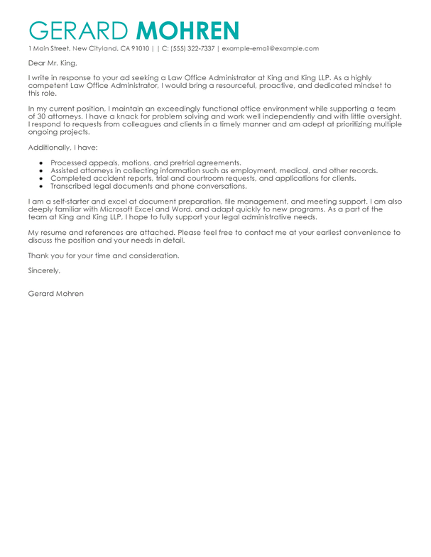 Office Admin Cover Letter Examples Law Enforcement Livecareer