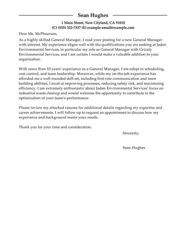 Best General Manager Cover Letter Examples | LiveCareer