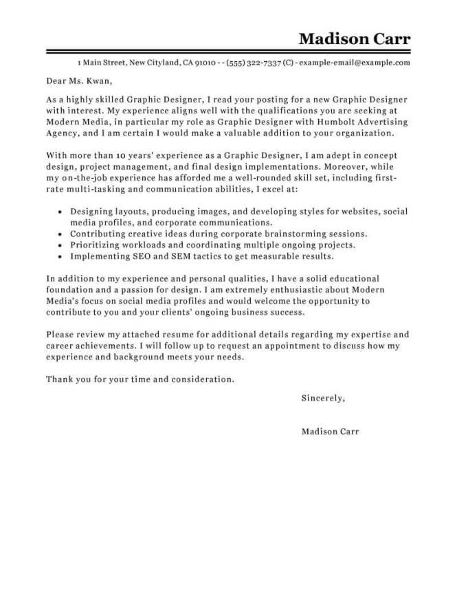 Graphic Design Cover Letter Exle