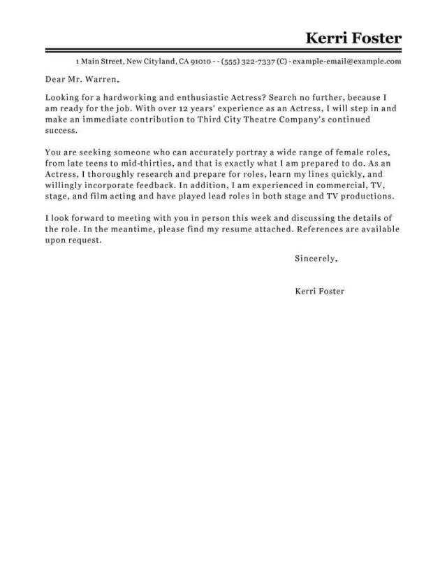 Professional Actor/Actress Cover Letter Examples  LiveCareer