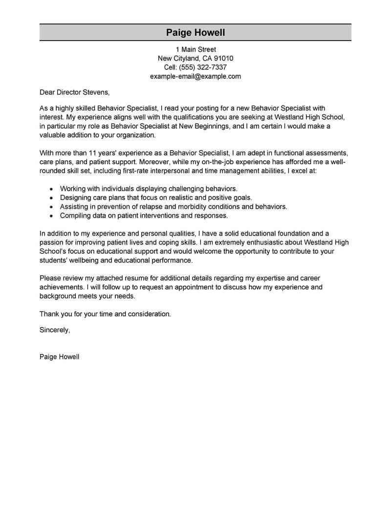 Best Behavior Specialist Cover Letter Examples LiveCareer