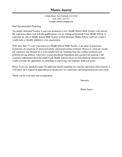 Teaching Job Cover Letter Word Template