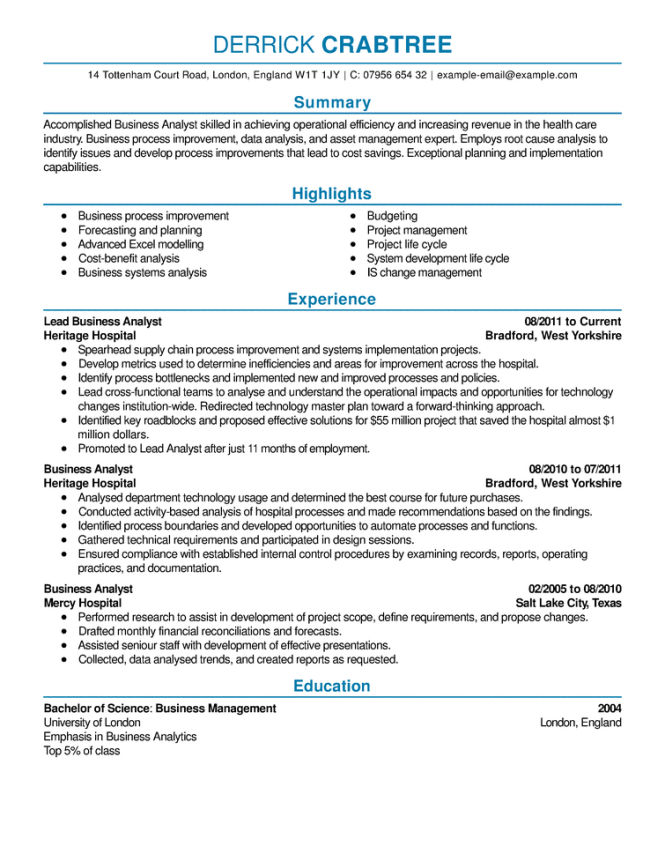 what a proper resume should look like
