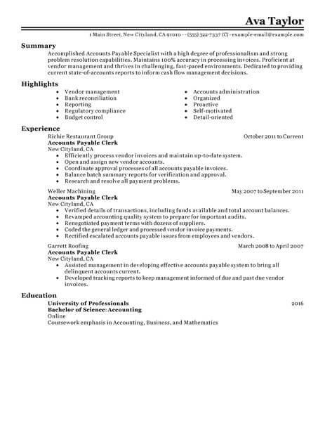 best accounts payable specialist resume example livecareer - Account Payable Resume Sample