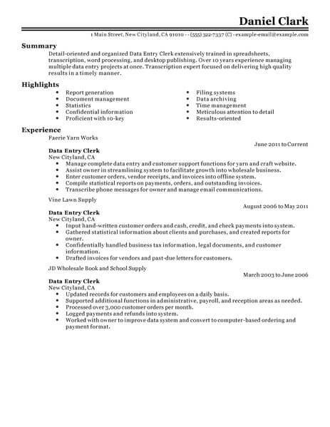Best Data Entry Clerk Resume Example Livecareer In Sample Data Entry Resume