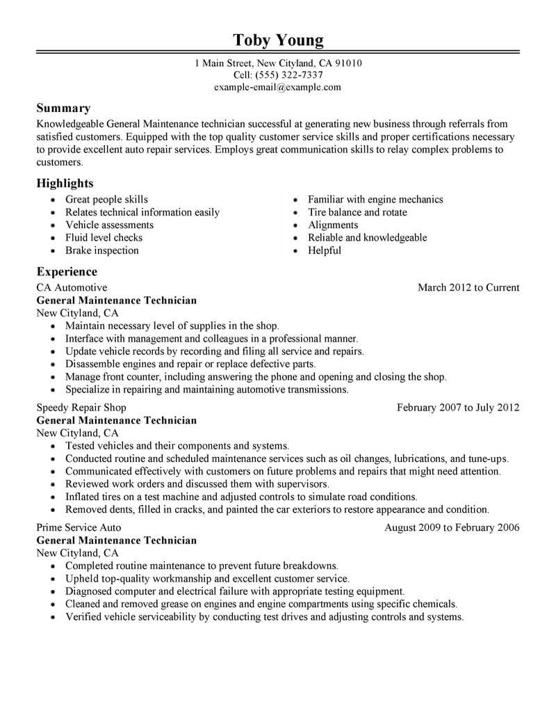 Best General Maintenance Technician Resume Example Livecareer  Mechanic Resume Examples