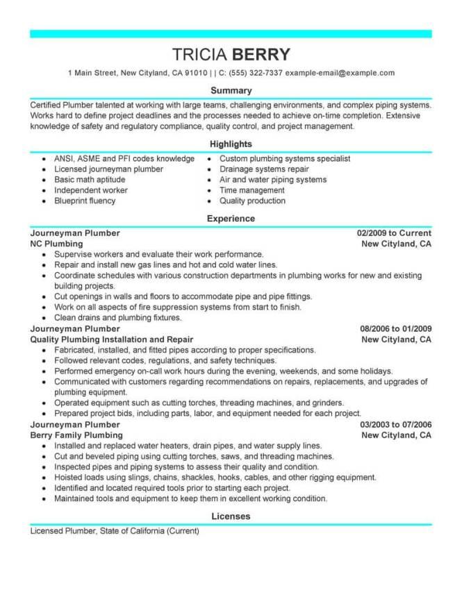 plumbing resume