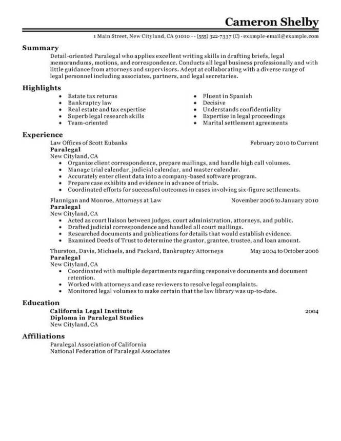 Paralegal Resumes Resume Sample