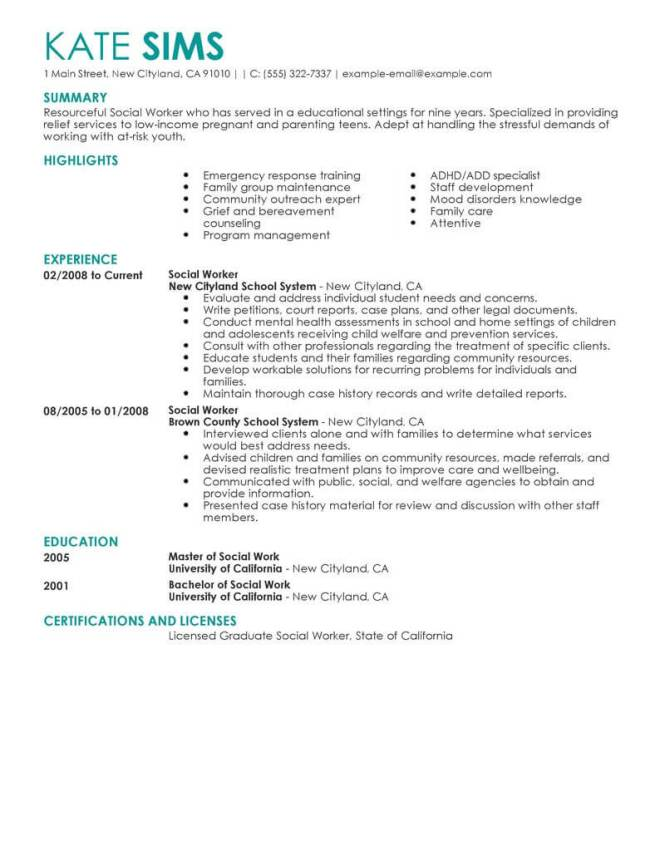 Examples Of Social Work Resumes - Resume Sample