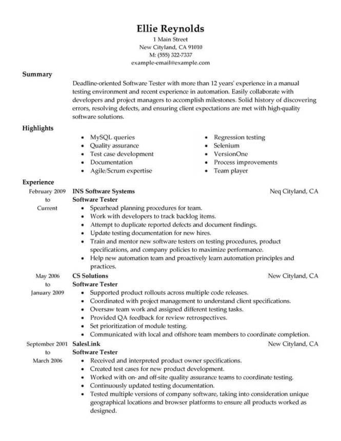 Best Testing Resume Example