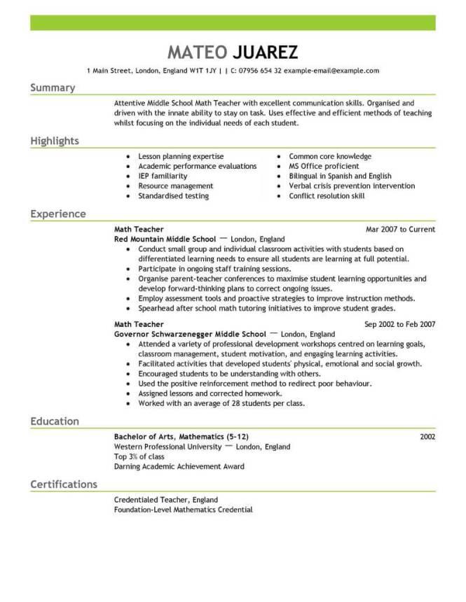 Teacher Resume Template - Resume Sample