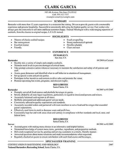 Bartender Resume Description - Resume Sample
