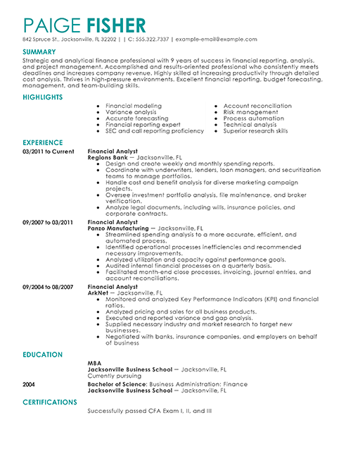 Financial analyst objective statements often include references to budgeting or analysis skills. Financial Analyst Resume Template For Microsoft Word Livecareer