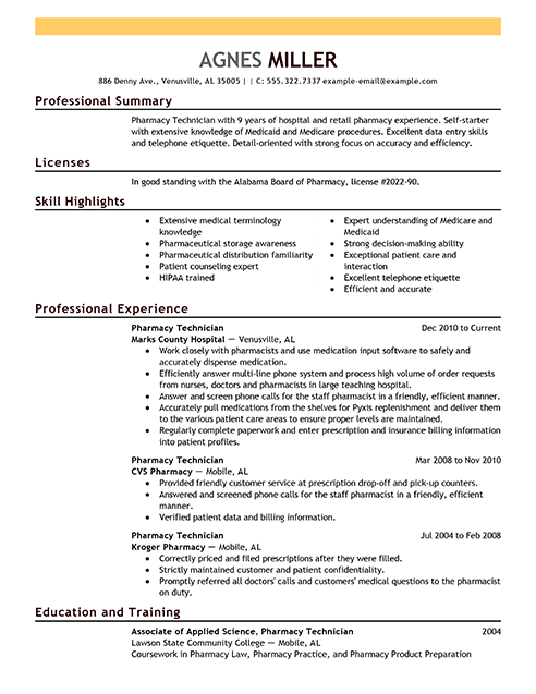 best pharmacy technician resume example livecareer - Technician Resume Sample