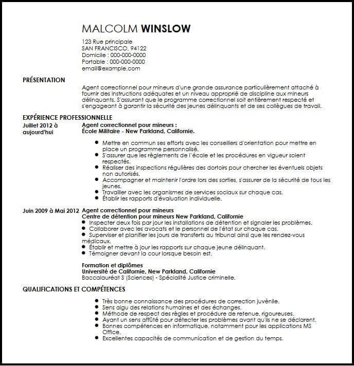 Exemple De CV Agent Correctionnel Pour Mineurs Exemples