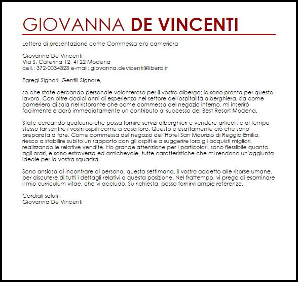 Esempio Lettera Di Presentazione Commessa Eo Cameriera