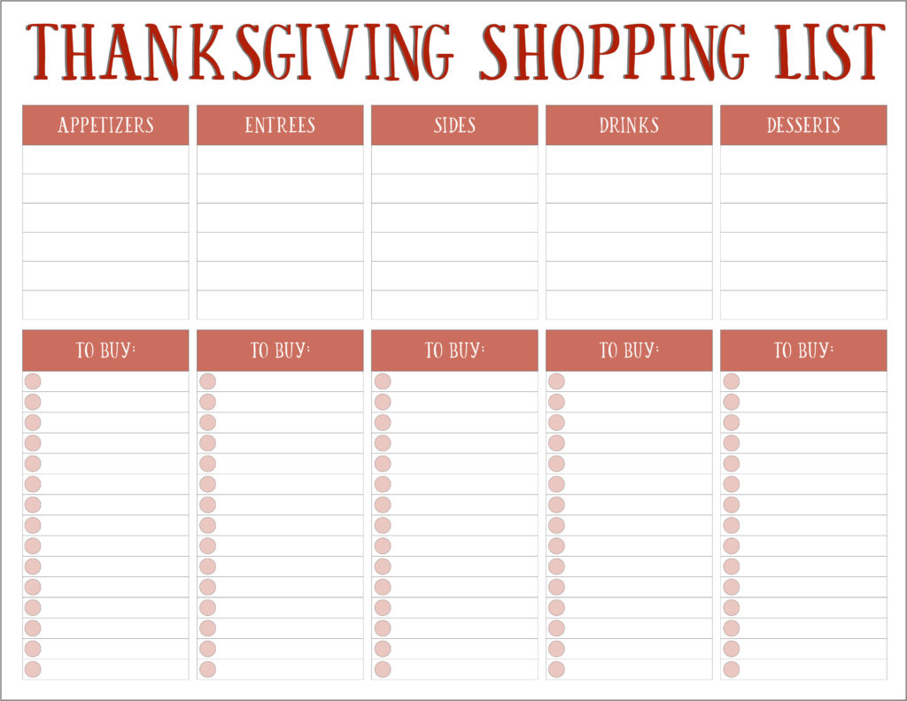 Thanksgiving Meal Planners Amp Shopping List Printables