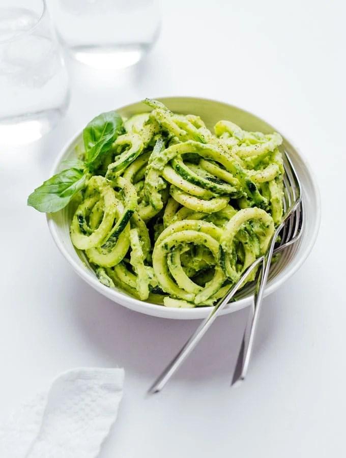 9. Zucchini Pasta with Creamy Avocado Pesto