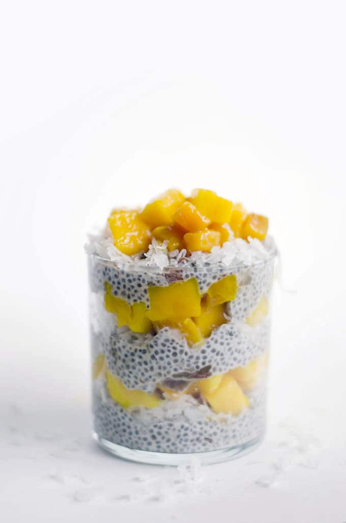 Chia seed parfait with mango and coconut milk