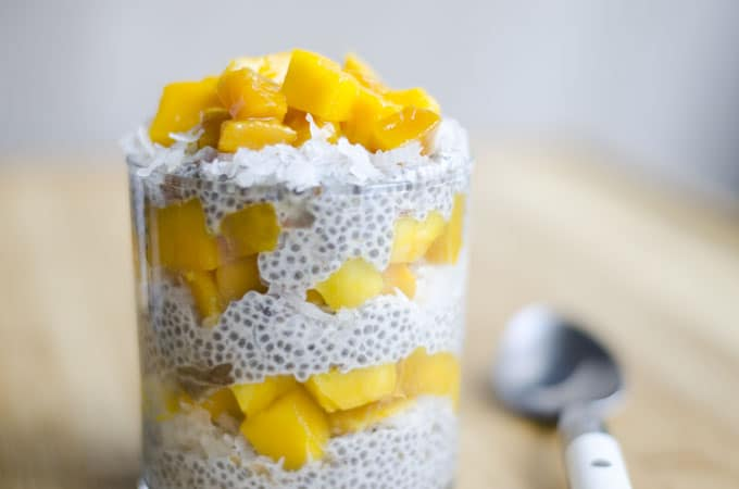 Chia seed pudding with coconut milk and mango layered