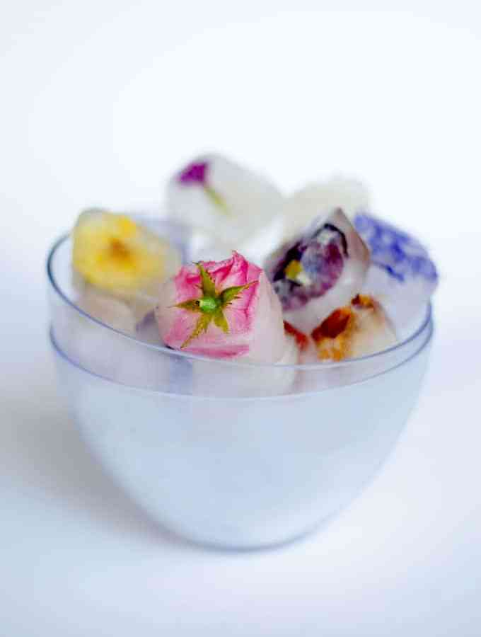 Elderflower and Edible Flower Ice Cubes