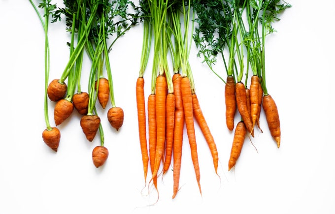 Picture of different types of carrots on a white background