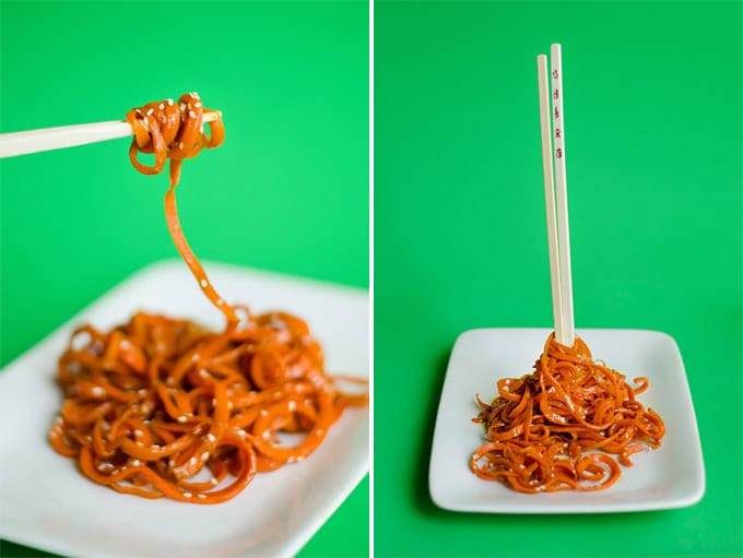 Spiralized carrot noodles photo with chopsticks