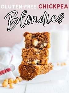 Gluten-free chickpea blondies stacked