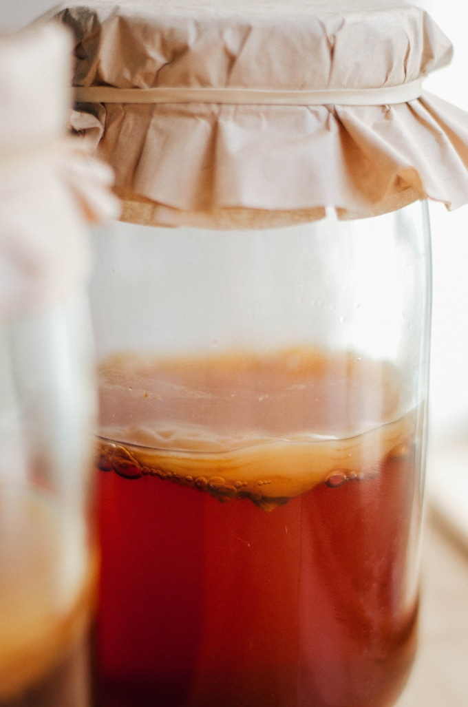 How to make homemade kombucha recipe with kombucha and SCOBY in a large jar