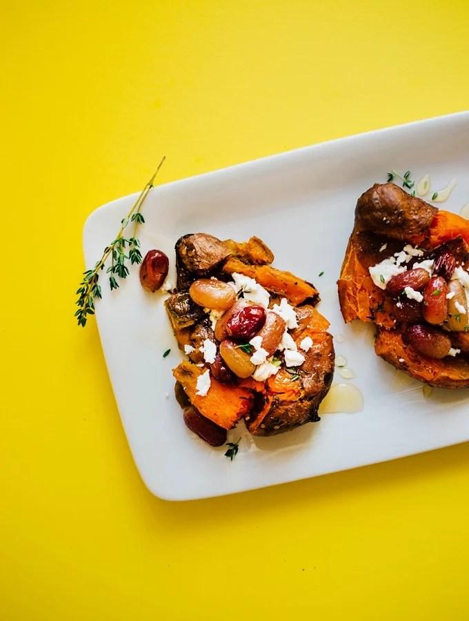Sweet Potato Smashers with Roasted Grapes