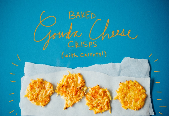 A simple combo of Gouda cheese and carrots, these healthy baked cheese crisps are savory, addictive, low in carbs, and gluten-free!