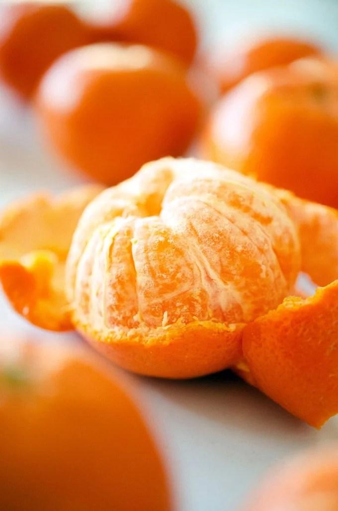 Close-up photo of a mandarin orange peeled.