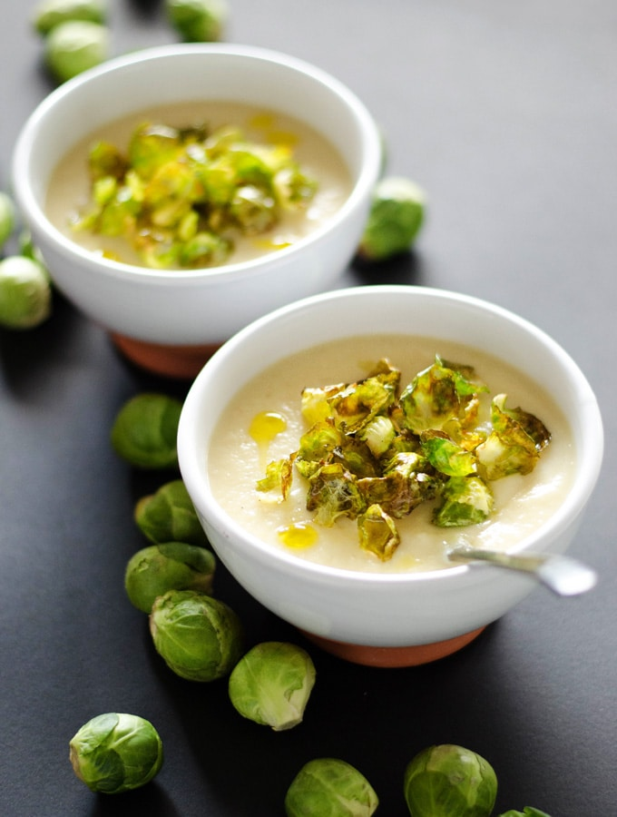 Parsnip & White Bean Soup with Crispy Brussels Sprouts