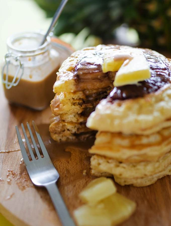 Pineapple Upside Down Pancakes with Coconut Syrup
