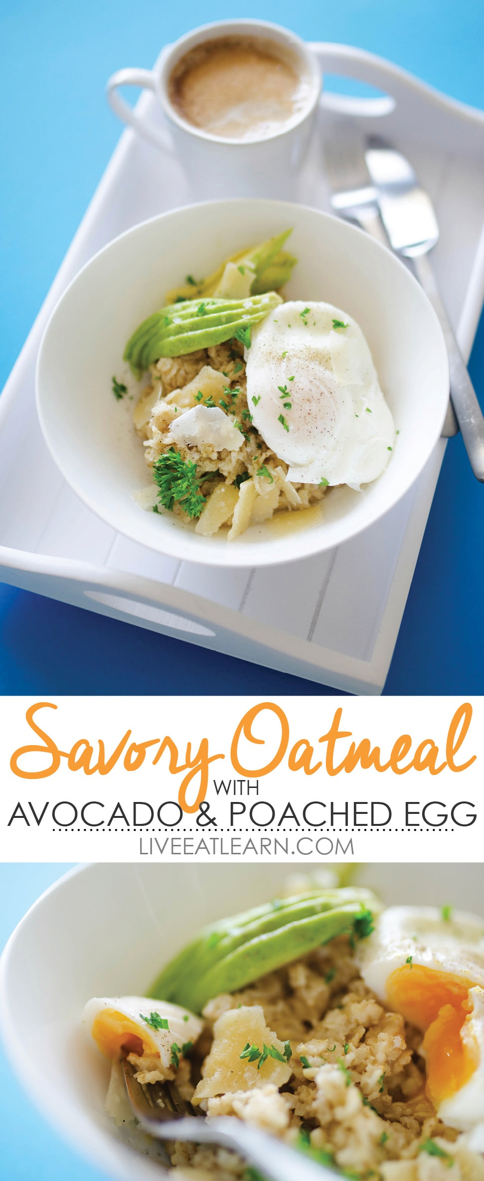 This Savory Oatmeal recipe is healthy, delicious, and so unique! With sliced avocado, parmesan cheese, and a poached egg, this is a vegetarian breakfast that will revolutionize your whole morning routine.