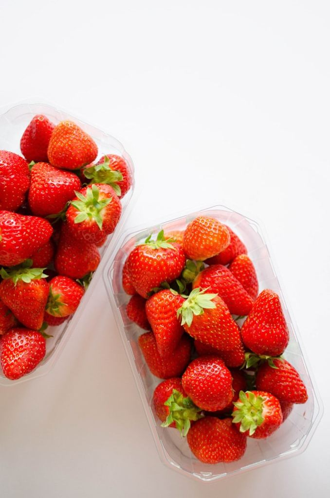 Photo of strawberries on a white background