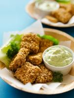 Almond Crusted Baked Tofu Nuggets