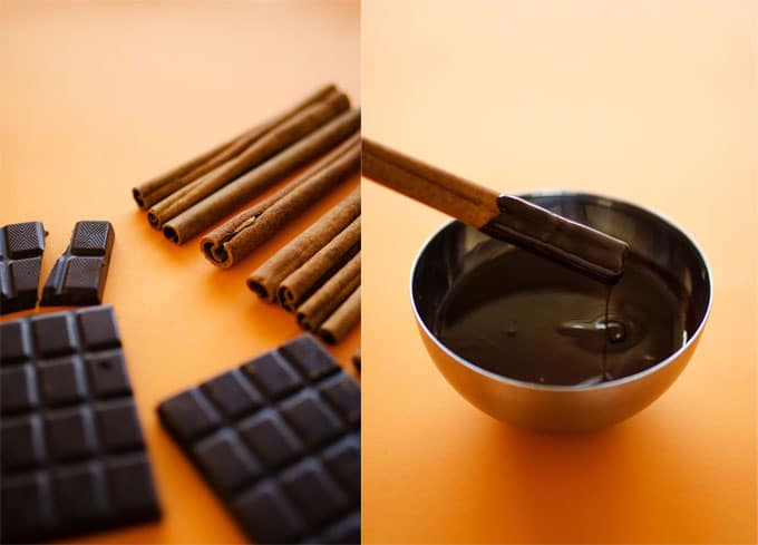 Chocolate-Coated Cinnamon Stick Coffee Stirrers