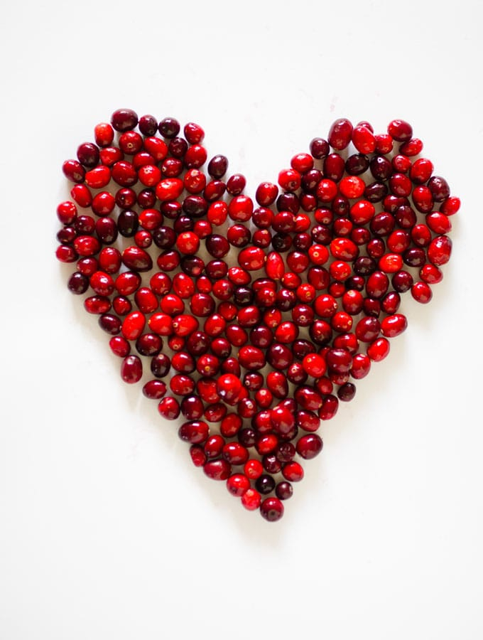 Cranberries in the shape of a heart