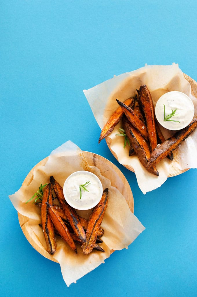 Roasted sweet potato fry wedges in a basket