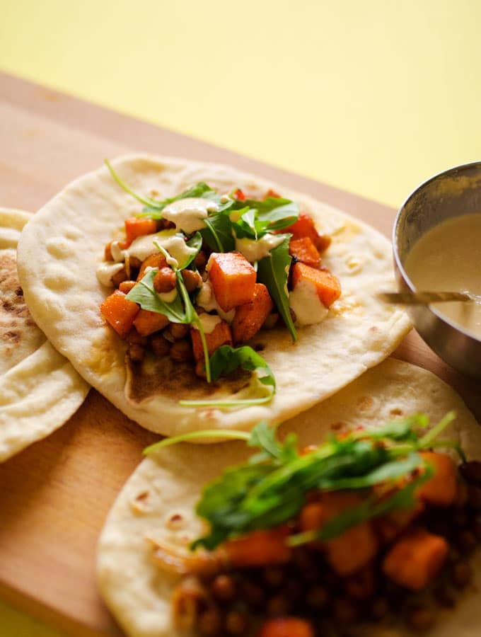 Roasted Butternut Chickpea Hummus Wraps