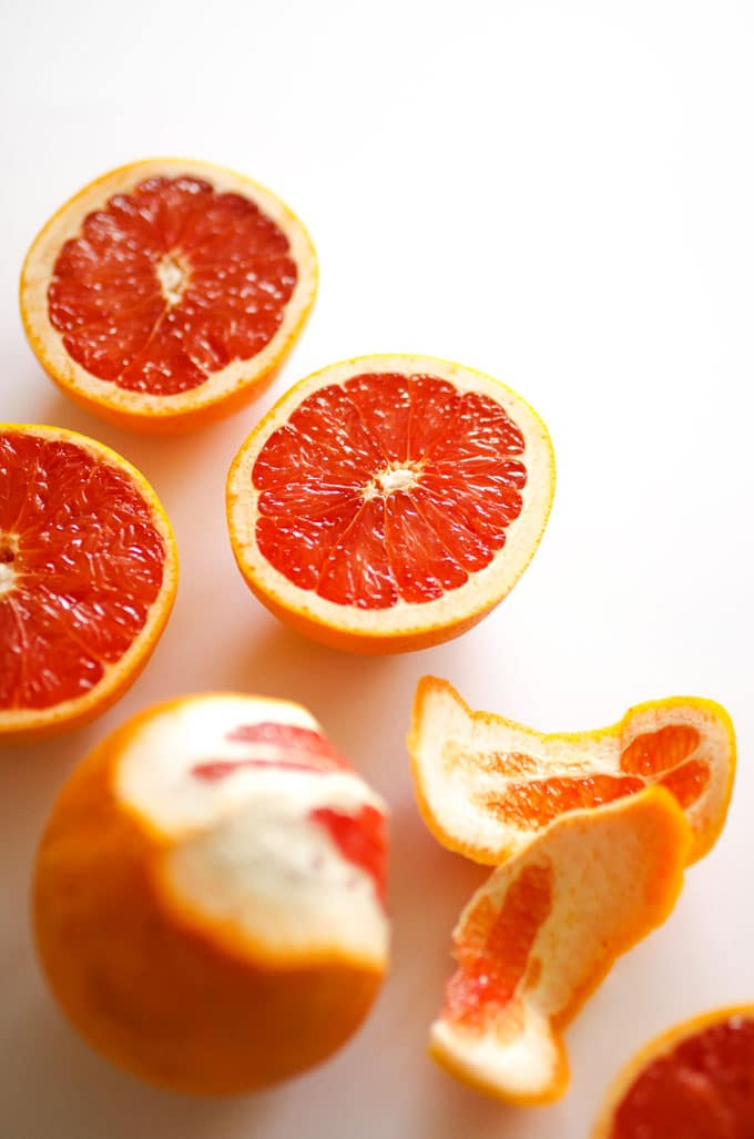 Grapefruit halves on a white background