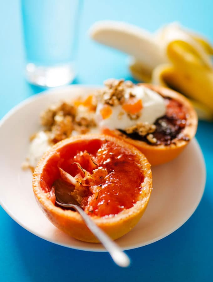 Grapefruit Brûlée with Quick Quinoa Granola