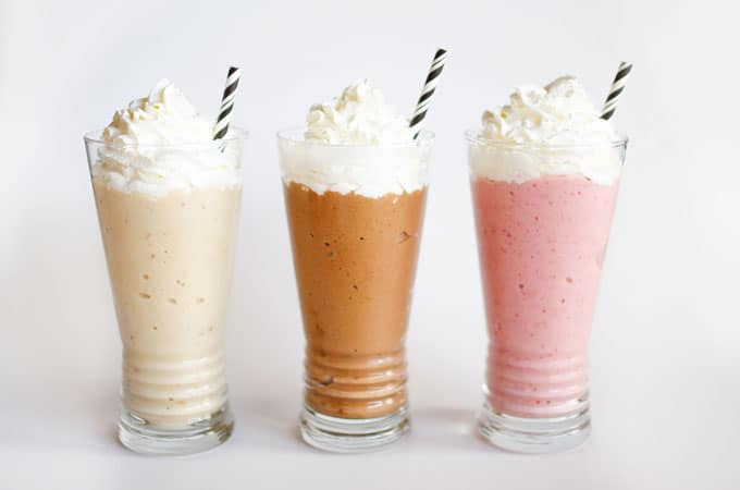 "So you know how you can make ""ice cream"" out of frozen bananas? Well you can make even better milkshakes out of them! Today we're making Banana Nice Cream Milkshakes in three tasty flavors: strawberry, vanilla, and chocolate!"