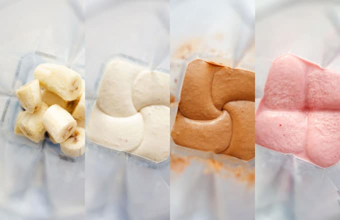 """So you know how you can make """"ice cream"""" out of frozen bananas? Well you can make even better milkshakes out of them! Today we're making Banana Nice Cream Milkshakes in three tasty flavors: strawberry, vanilla, and chocolate!"""