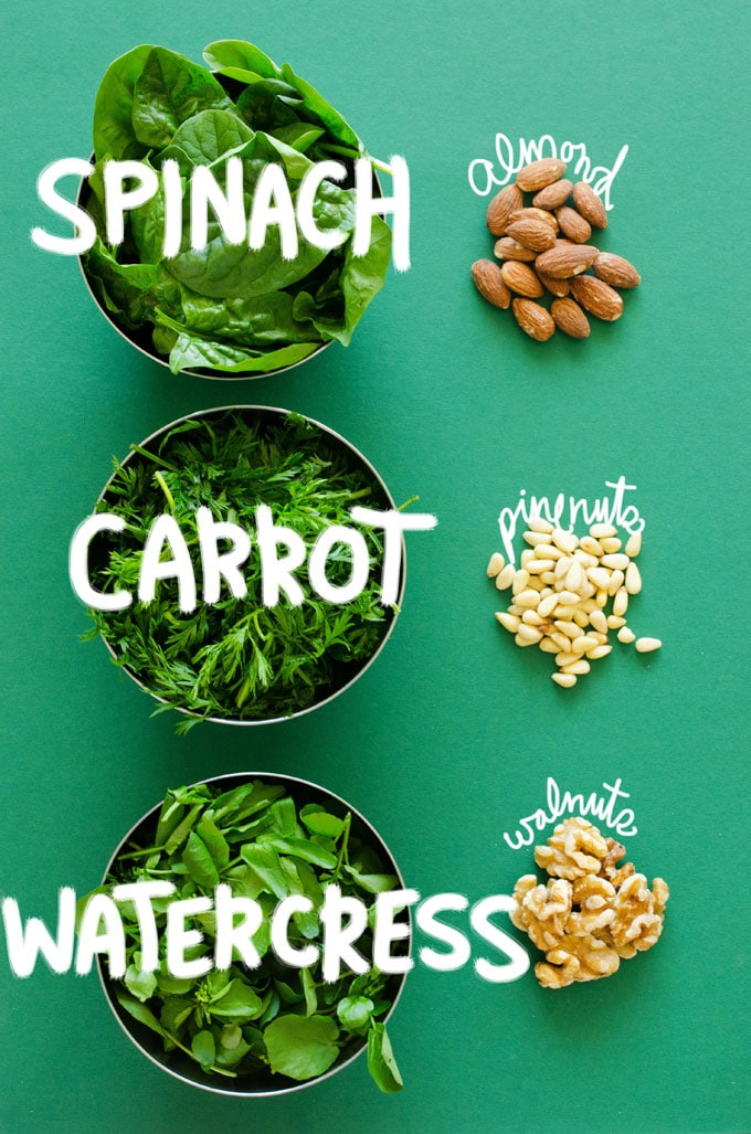 Got extra greens? Make some Leafy Greens Pesto! Here are 3 recipes for carrot top, spinach, and watercress pesto (all in under 5 minutes!)